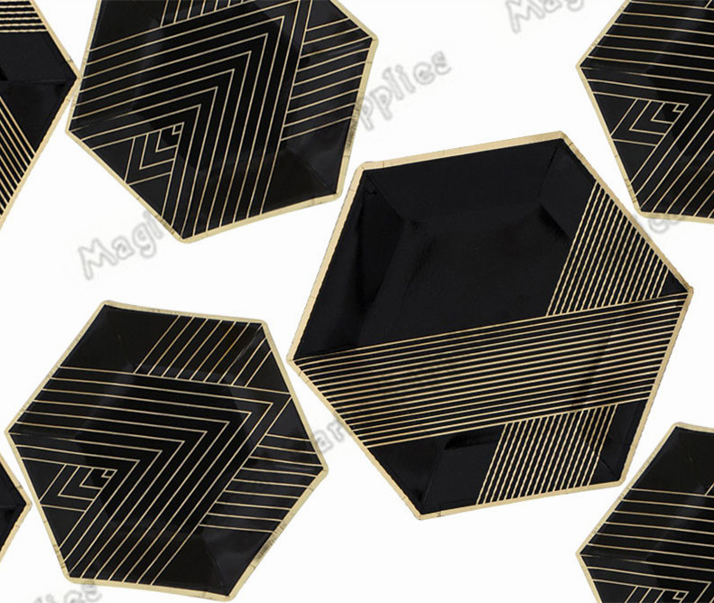 16pcs Black and Gold Small Dessert Party Paper Plate Gold Foil Paper Plate Gatsby Party Tableware-in Disposable Party Tableware from Home \u0026 Garden on ... & 16pcs Black and Gold Small Dessert Party Paper Plate Gold Foil Paper ...