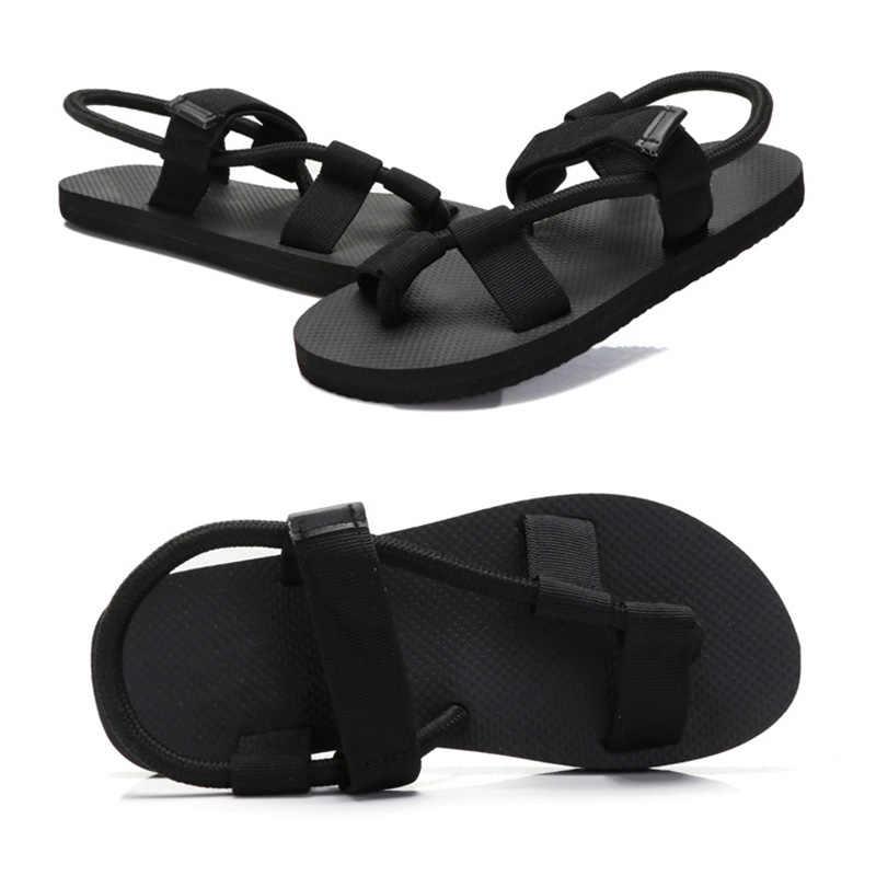 6f2f9f641a35 ... 2018 New Fashion Men Women Flat Sandals Elastic Band Anti Skid Girl  Summer Beach Casual Shoes ...