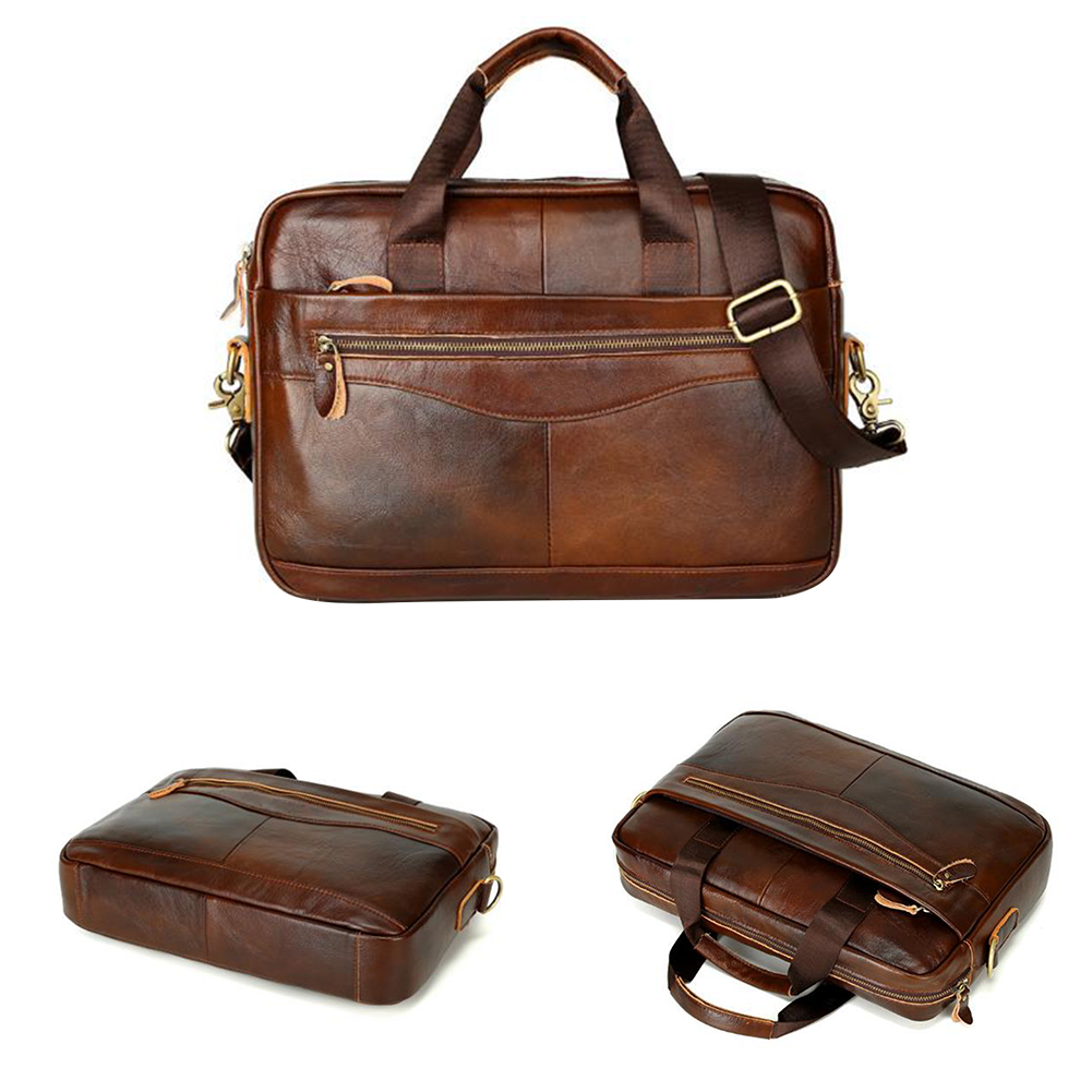 With Strap Men Briefcase Large Capacity Square Business Case Portable Work Artificial Leather Storage Handbag Solid Travel