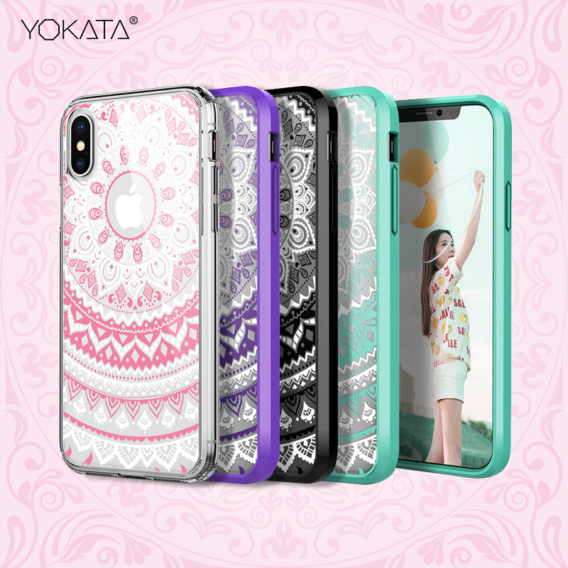 Clear Hard PC Thin Cute Case For iphone X 8 7 6 6s plus 5 5s SE Case Transparent Mandala Flower TPU Bumper Slim Cover in Fitted Cases from Cellphones Telecommunications