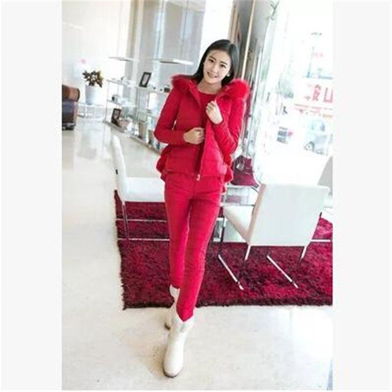 À Tempérament red Pink Wine Pièces khaki Haute Jeunes Hiver Manteau Nouveau 3 De Taille Dames Capuchon Coton En 755 purple red Veste Ensemble Femmes Grand Épais black Qualité lT1JcK3F