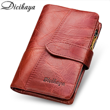 Купить с кэшбэком DICIHAYA Genuinn Leather Women Wallet Hasp Small Coin Pocket Red Leather Women Wallets Cards Holders Luxury Brand Designer Purse