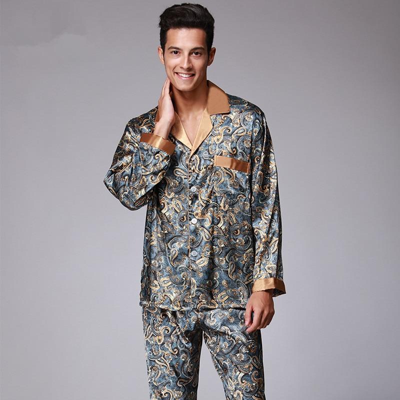 New Luxury pajamas Men Paisley Pattern Sleepwear Silk long ...