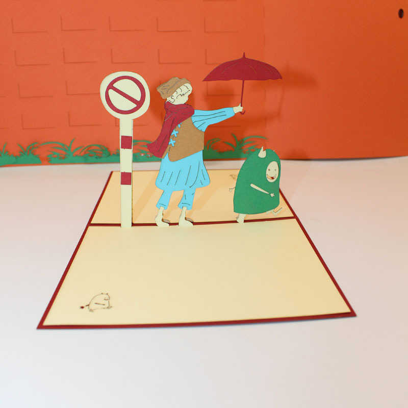 ثلاثية الأبعاد قطع الليزر اليدوية الكرتون الخير الأحمر مظلة بطاقات تحية ورقية بطاقة بريدية الاطفال حفلة عيد ميلاد دعوة بطاقة هدية الإبداعية