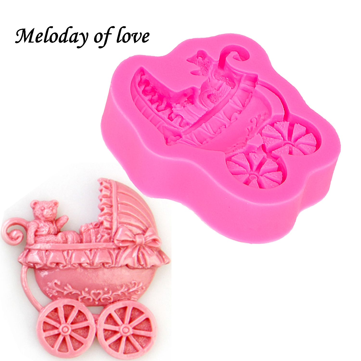 Bear Baby Carriage Car Bows Soap Mould  DIY Fondant Baking Cake Decorating Tools Silicone Mold T0088