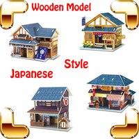 mới đến món quà phong cách Nhật Bản 3d câu đố xây dựng Mạc phủ gỗ mô hình câu đố học tập đồ chơi trang trí