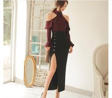 New Women suit Office Bandage Party Sexy Bodycon Vestidos Off the Shoulder Flare Sleeve tops and Split long skirt 2 piece set
