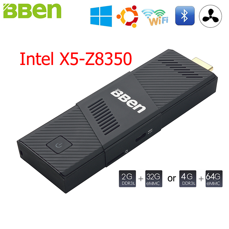 все цены на  BBen MN9 Mini PC Stick Windows 10 Ubuntu Intel X5 Z8350 Quad Core 2G 4GB RAM Mute Fan WiFi Smart TV Stick PC Mini Computer Micro  онлайн