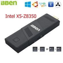 Bben Мини-ПК stick Окна 10 Ubuntu Intel X5 Z8350 Quad Core 2 ГБ 4 ГБ Оперативная память немой вентилятор Умные телевизоры stick Intel ПК мини-компьютер stick