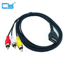5ft 1.5m USB A żeńskie do 3 RCA Phono AV kabel zasilający PC TV Aux audio wideo kabel adapter 150cm