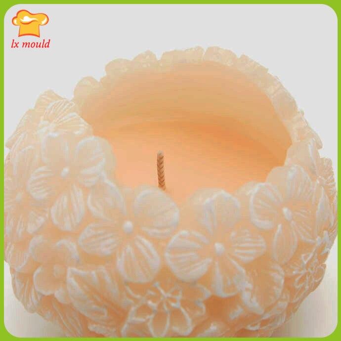 2017 nouvelle fleur bougie silicone moule fleur boule bougie outil de qualité alimentaire silicone souple moule