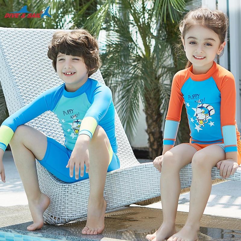 ad7bf0c1be Girls Boys Swimsuit UPF 50+ UV Long Sleeve Swimwear Swimming Suits 3-12  Years Kids Child Beach Shirt trunks surfing diving suit