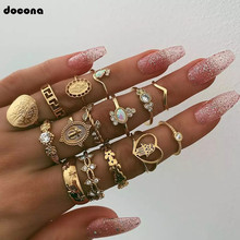 docona 15pcs/set Bohemian Gold Color Virgin Mary Heart Flower Kunckle Midi Ring Set for Women Crystal Geometric Rings 7056