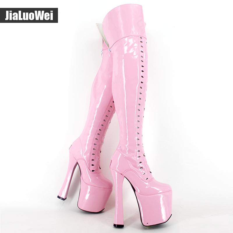 Jialuowei Design 8 inch Extreme high heel Sexy fetish Over The Knee Thigh High Heel Platform Round Toe Stretchy Boots Plus size jialuowei 8 inch ultra high heel fetish sexy over the knee long boots pleaser stretch platform thigh high boots side ribbon lace