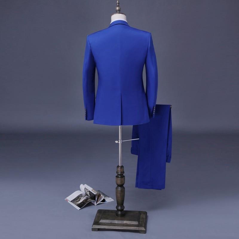 Royal Blue Bruidegom Suits Custom Made Dubbele Breasted Tuxedos 3 stuks Wedding Suits Voor Mannen Stalknecht Suits Pakken-in Pakken van Mannenkleding op  Groep 2