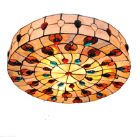 18 Inch Retro Tiffany Ceiling Lamp European Vintage Shell Shade Flush Mount Lamps Living Room Dining