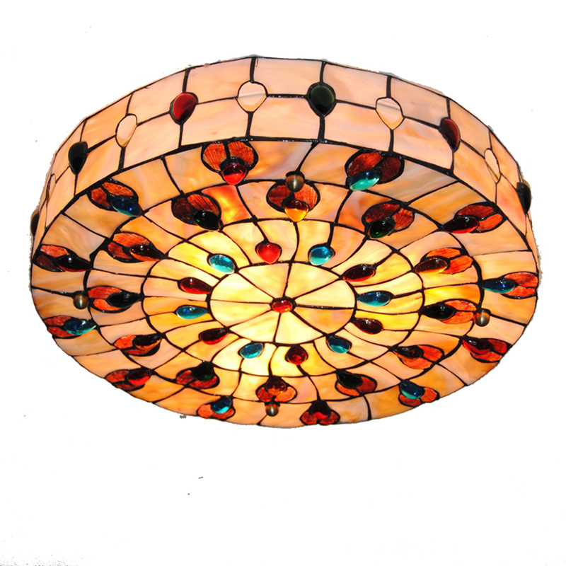 18 inch Retro Tiffany Ceiling Lamp European Vintage Shell Shade Flush Mount Lamps Living Room Dining Room Light Fixture CL204