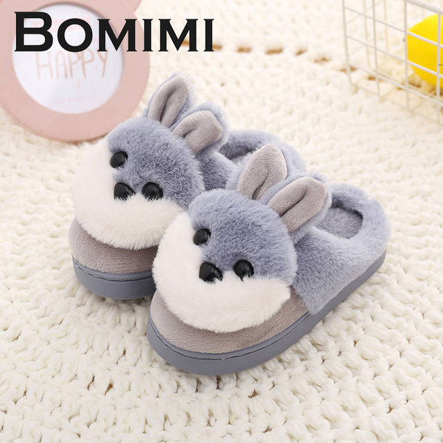 f124f323e2 BOMIMI Kids Slippers Boys And Girls Baby High Quality Cute Rabbit Cotton  Shoes Winter Children Keep