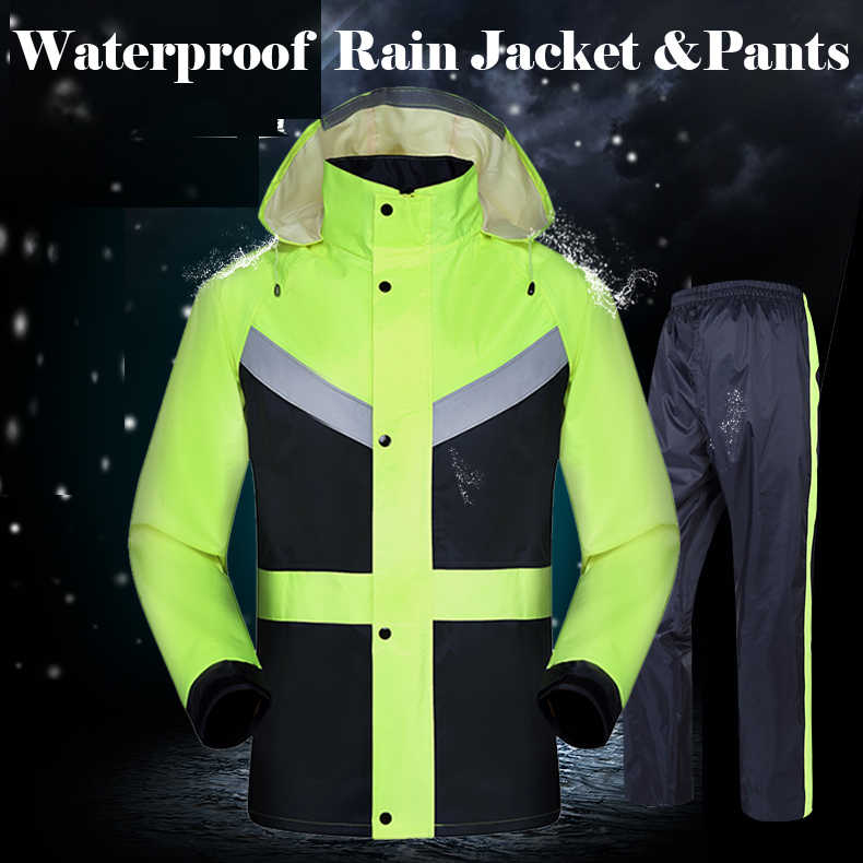 High visibility yellow lime green split raincoat with reflective strips tapes rain suit rainwear jacket & pants free shipping
