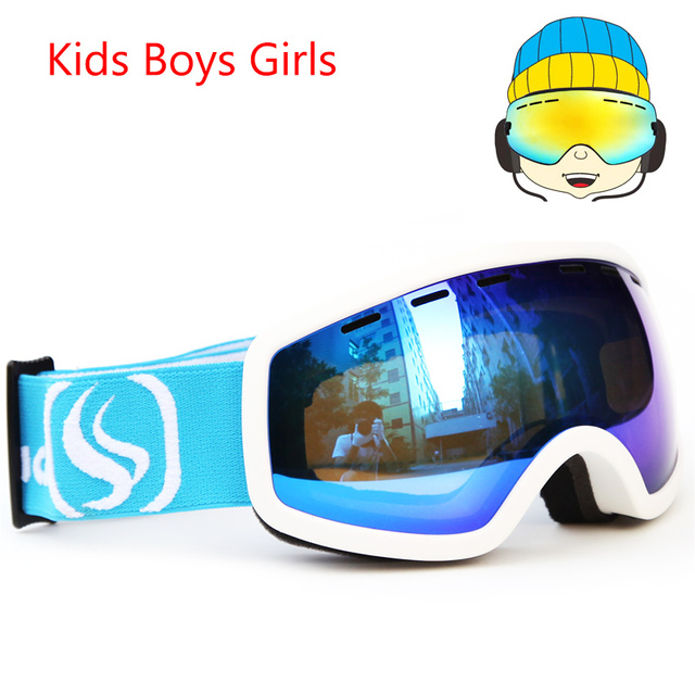 b1e59eaf09dd Snowboard skiing goggles Kids Double Lens UV400 Anti-fog Ski Snow Glasses  Children s Ski Masks Winter Girls Boys Eyewear