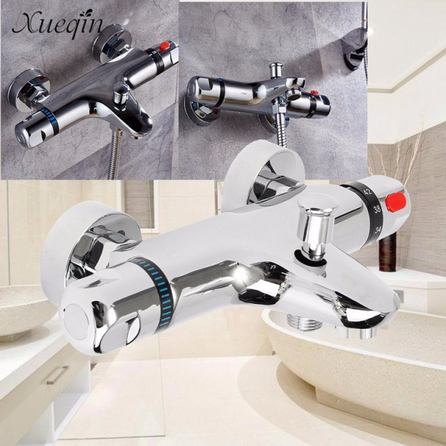 Xueqin Bathroom Bath Shower Faucets Water Control Valve Wall Mounted Ceramic Thermostatic Valve Mixer Faucet Tap