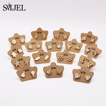 SMJEL New Fashion Crown Rabbit Small Wood Earrings for Women Tiny Flower Shape Bamboo Wooden Stud Girl Kids Jewelry - discount item  30% OFF Fashion Jewelry