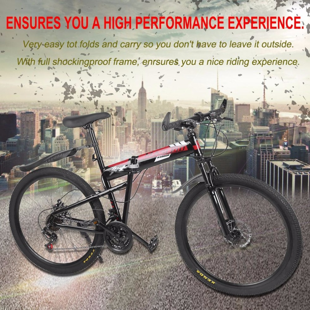 High Carbon Steel 26inch Bicycle Double Disc Brakes Variable Speed Folding Bike Front Rear Mechanical Brake Mountain Racing Bike 26 inch bike steel 6 knife wheel 21 speed aluminum frame mountain bike skateboard pedal oil spring shock absorber double disc