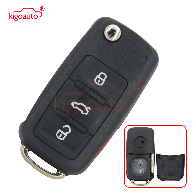 NBG010180T Remote բանալին shell 3 կոճակը խուճապի համար VW Beetle Passat Jetta 2014 Flip Key Case Uncut Ignition Blade Blank Blank