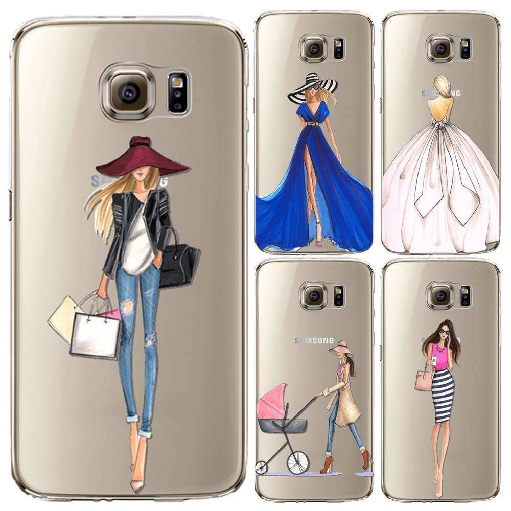 Modern Fashion Shopping Girls Patrones Soft Tpu Casos de La Cubierta para samsun