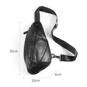 Image 4 - AETOO Mens chest bag leather Messenger bag casual mens top layer leather shoulder bag chest bag