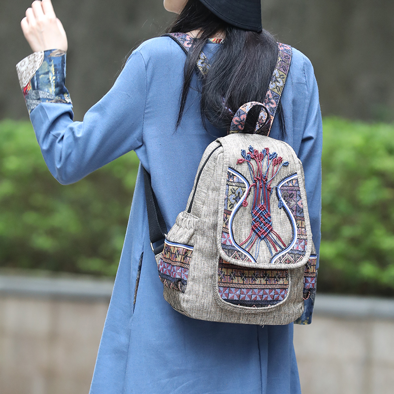 Designer handmade traditional embroidery canvas backpack for women cute shape good quality  Softback  PolyesterDesigner handmade traditional embroidery canvas backpack for women cute shape good quality  Softback  Polyester