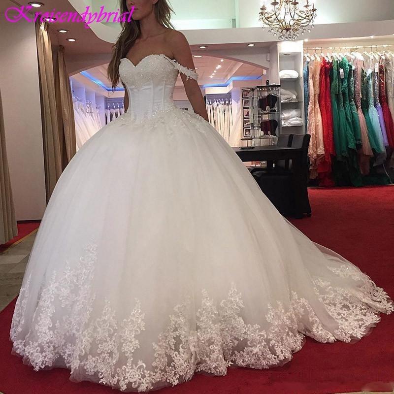 QFS037 Vestidos De Noiva Vintage Lace Sweetheart Wedding Dresses 2019 robe de mariage Romantic Ball Gowns