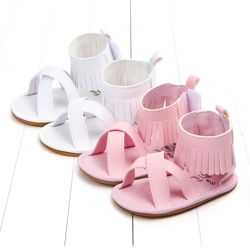 1c0d77638 0-18 month Baby girls Summer Newborn Infant Baby Sandal Shoes Leather  Tassels Hard Sole Sandals Infant Baby Shoes 4 colors