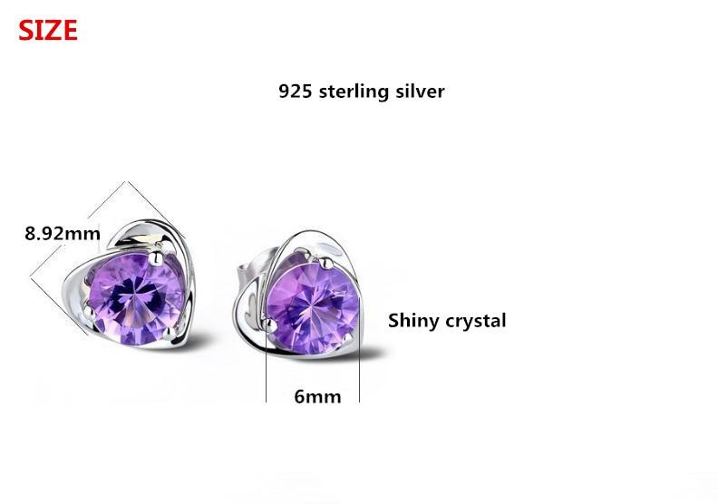 100 925 sterling silver romantic love heart purple crystal ladies stud earrings jewelry wholesale Anti allergy drop shipping in Stud Earrings from Jewelry Accessories