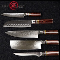 Grandsharp 5 Pcs Chef Knife Set Professional Chef's knives VG10 Japanese Damascus Steel Best Family Gift Japanese Damascus Knive