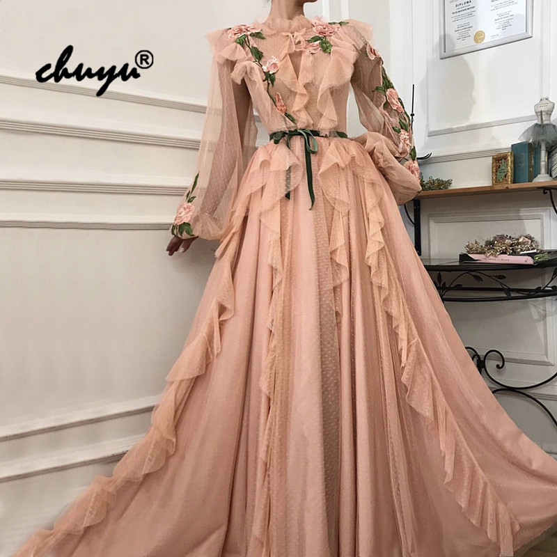 Hot Saudi Arabia Dubai Muslim Evening Dresses Long Sleeves Lace Prom Dress Party Gowns