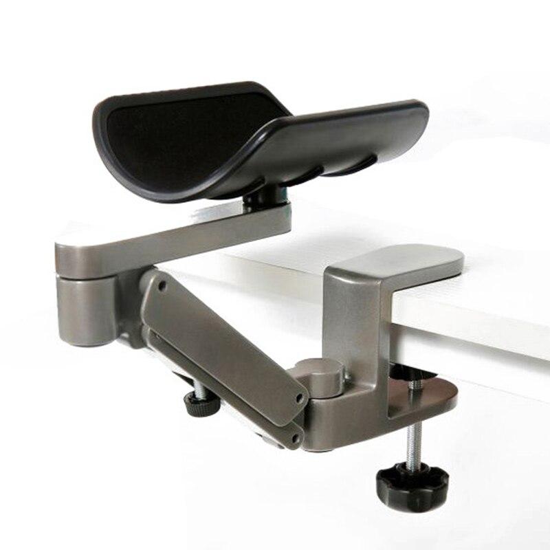 Prix pour Ergonomique Bras Reste pour Ordinateur De Table Support de Bras En Aluminium Alliage Souris Pad Bras Repose-Poignet Main Épaule Protéger Tapis De Souris