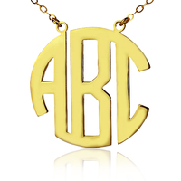 AILIN Free shipping Personalized Name Customized 3 Initials Gold Color Initials Circle Monogrammed Necklace To US 2 weeks