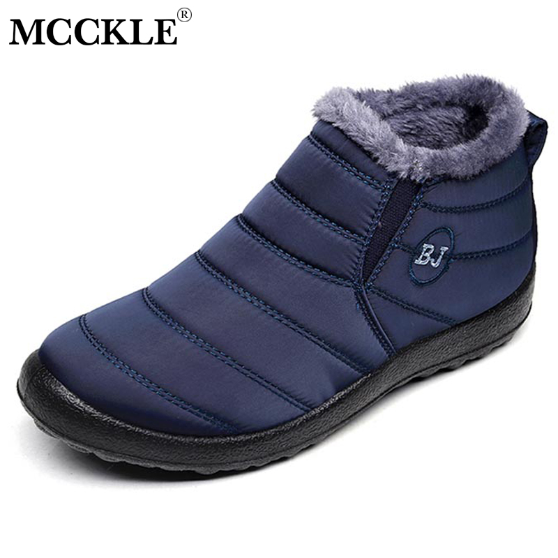 MCCKLE Plus Size Women Winter Plush Warm Snow Boots Casual Female Waterproof Platform Flat Slip On Fur Short Boots Shoes suihyung winter warm snow boots women cotton shoes flat platform ankle boots woman short plush casual slip on thermal fur shoes