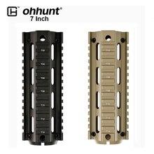 """Ohhunt tático de duas peças 6.75 """"comprimento drop in quad ferroviário ar15 m16 carabina keymod handguard picatinny montagem em trilho preto tan"""