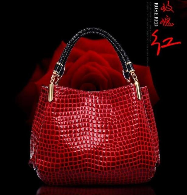 NEW FASHION BRAND patent leather shoulder bag women zipper handbag crocodile pattern leisure casual evening party shoudler bags in Shoulder Bags from Luggage Bags