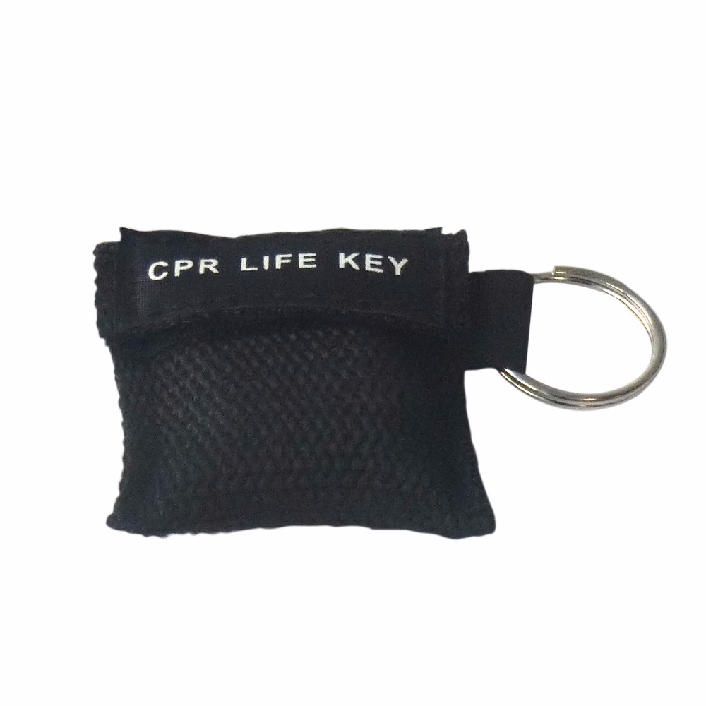 100Pcs/Pack CPR Resuscitator Keychain Mask Key Ring Emergency Rescue Face Shield Black