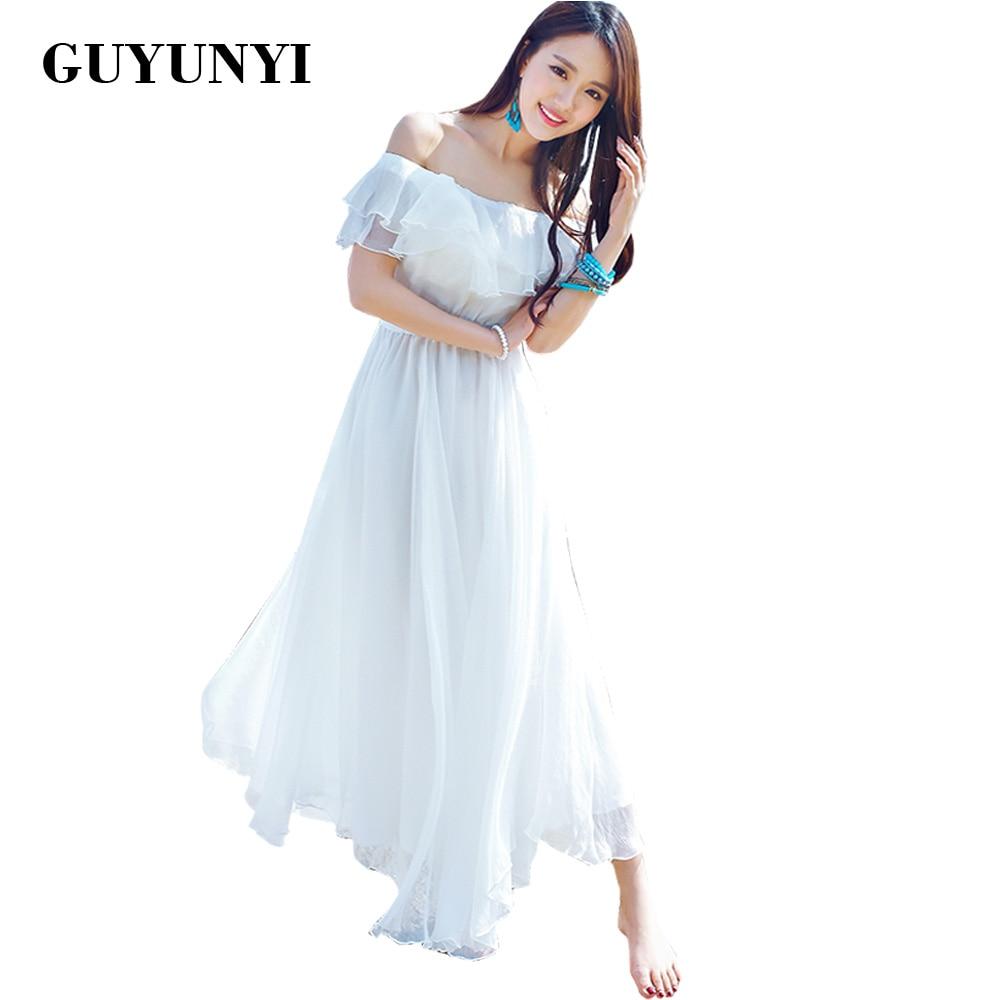 GUYUNYI Boho stiilis pikkade kleitide naised Väljas õla rannas suvel kleidid rihmutamata šifoon valge maxi kleit vestidos de festa CX585