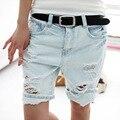 Calções Mulheres 2016 Moda Senhoras Bolso Cão Bordado Calça Jeans Calças Das Mulheres Do Vintage Buraco Denim Calças Curtas S/M/L/XL