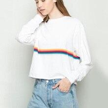 Rainbow Stripe Baggy Sweatshirt Women Casual Vintage Loose Pullover Long Sleeve Streetwear White Cropped Sweatshirts Hoodie
