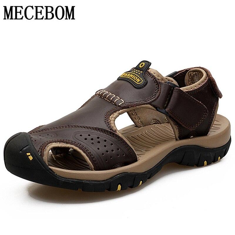 Los hombres sandalias de verano Zapatos casuales de cuero genuino zapatos  de hombre de estilo romano sandalias de playa de los hombres de la marca  zapatos ... 6bb658e578a