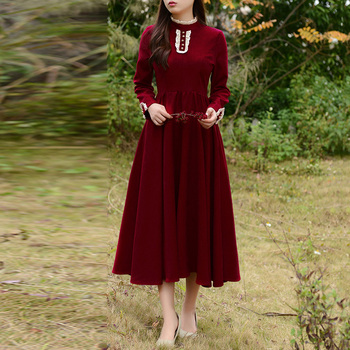 Vintage Burgundy Big Swing Dress Women Stand Collar Button Elegant Retro Style 2 Colors