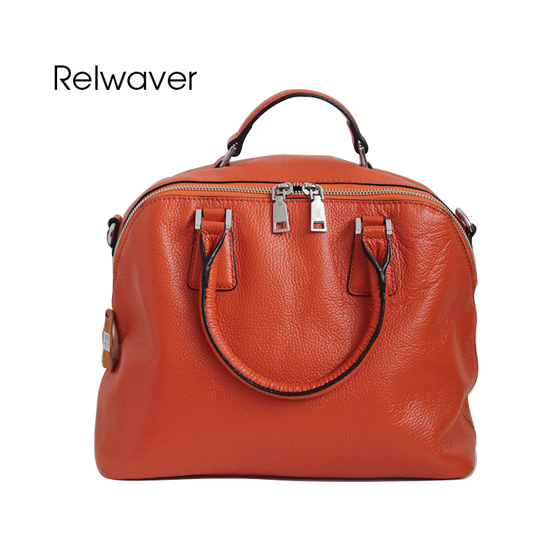 Relwaver genuine leather handbag totes women leather handbags real cow leather orange soft foding casual shoulder bags women bag dikizfly soft genuine leather women handbags casual totes bag real leather brand work handbag purse elegant messenger bags bolsa