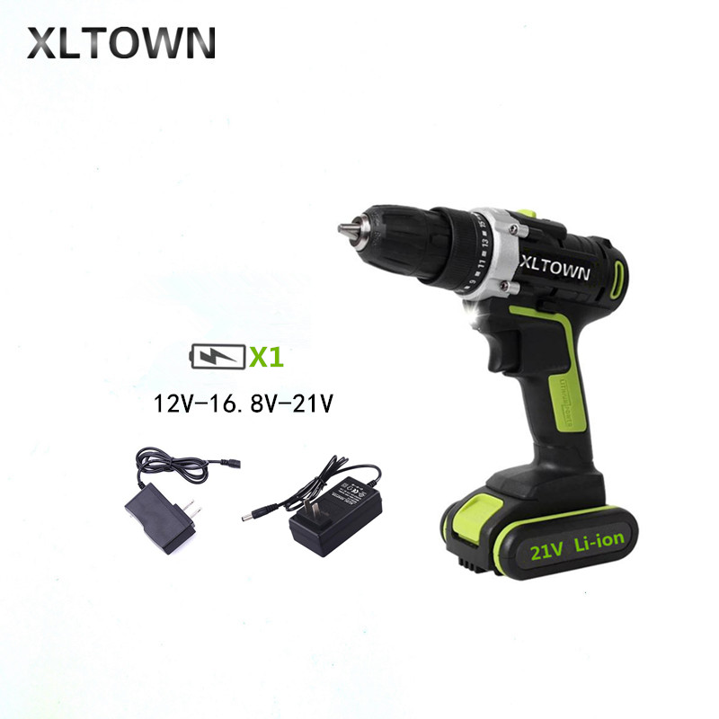 XLTOWN 12/16.8/21v Cordless Electric Drill Rechargeable Lithium Battery Multifunction Electric Screwdriver Power Tools Drill bit free shipping brand proskit upt 32007d frequency modulated electric screwdriver 2 electric screwdriver bit 900 1300rpm tools