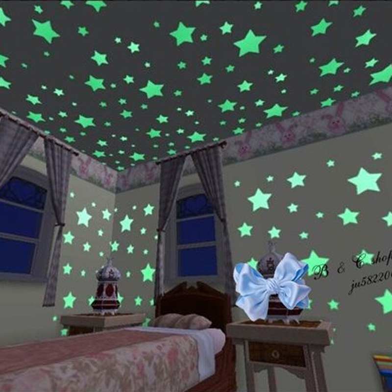 100PCS Set Home Wall Ceiling Glow In The Dark Stars Stickers Decal Baby Kids Bedroom Nursery Room Decoration in Wall Stickers from Home Garden